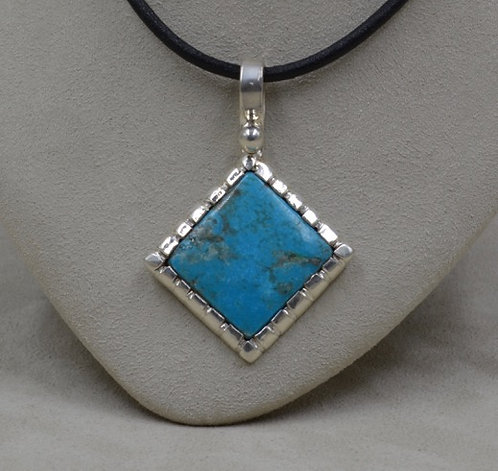 Sterling Silver w/ Natural Kingman Turquoise Pendant by JP Arviso