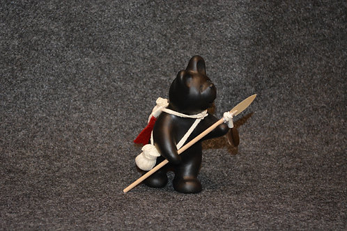 Mini Black Bear with Spear Sculpture by Randy Chitto