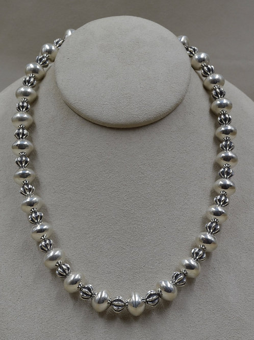 Sterling Silver w/ Small Fluted Handmade Beads by Bryan Joe