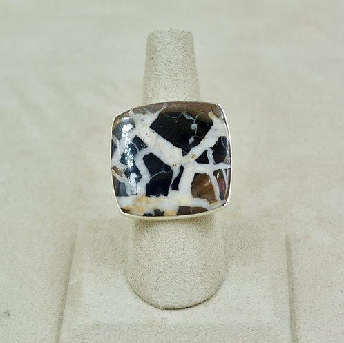 Large Septarian Gronate, Sterling Silver 10x Ring by Sanchi & Filia