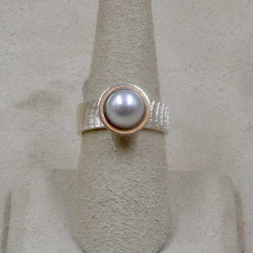 Cuttle Cast Sterling Silver 6.75x Ring w/ Gray Freshwater Pearl by Althea Cajero