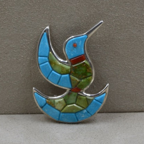 S.  Silver Hummingbird Pin with Sleeping Beauty Turquoise by Dukepoo