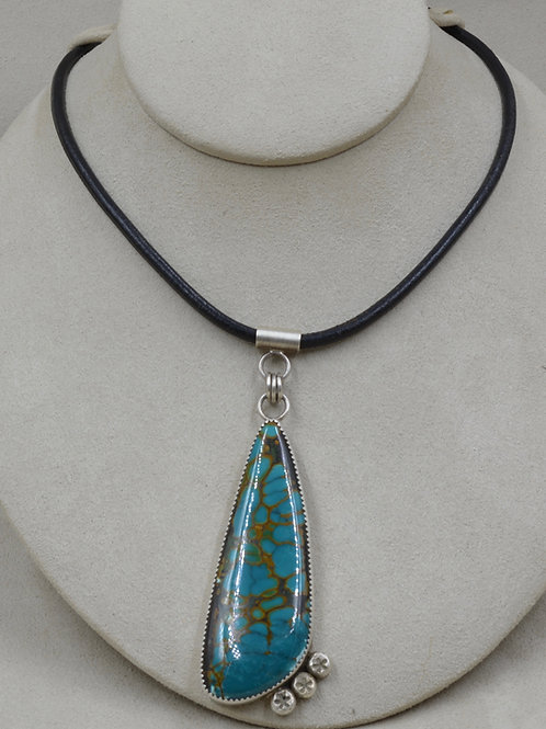Large Chinese Turquoise on Cord Necklace by Jacqueline Gala