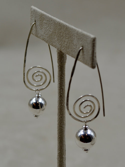 Long Circle of Life Sterling Silver Dangle Earrings by Sippecan Designs