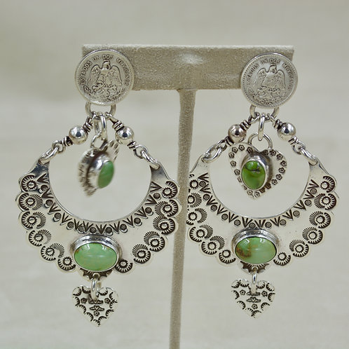 Mexican Coins, Green Turquoise, Sterling Silver Post Earrings by Melanie DeLuca
