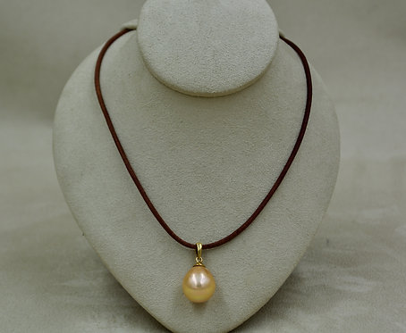 Rosey Yellow Cultured Freshwater Pearl & 18k Gold on Leather by US Pearls