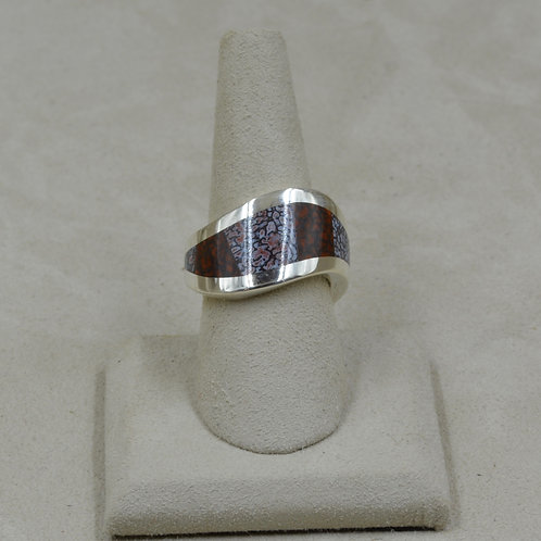 S. Silver Wave w/ Dinosaur Bone, Two Tone Inlay 8.5x Ring by Tim Busch
