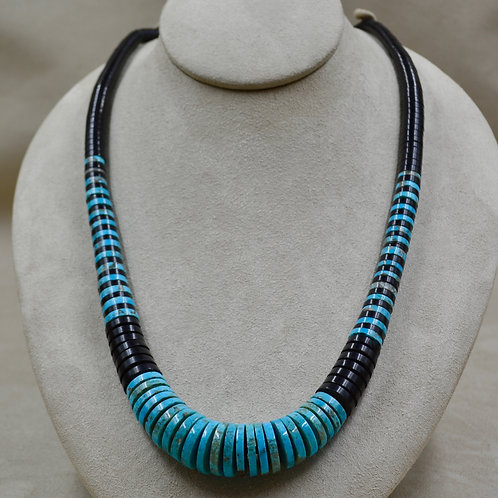 1 Strand Long Gradiated Jet & Kingman Turquoise Necklace by Kenneth Aguilar