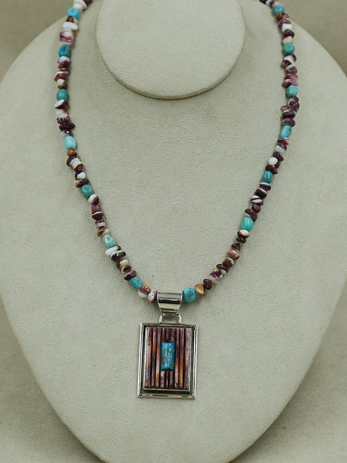 SS Cornroll w/ Purple Spiny Oyster, & Turquoise Necklace by Veronica Benally