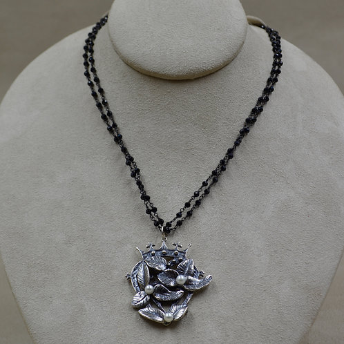 Crowns and Flowers Black Spinel Necklace by Michele McMillan