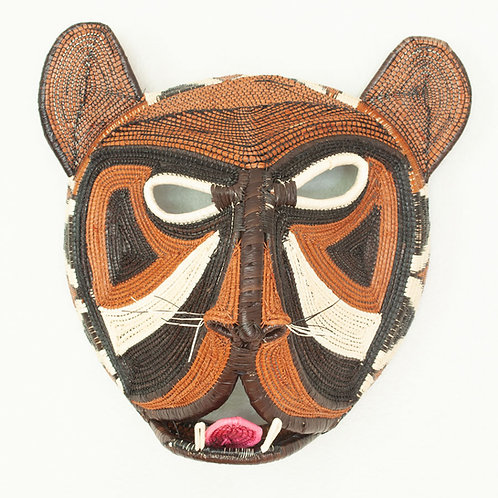 "Marcia's Snarling Cat Emberá Mask by Marcia Mesua - 12""W x 12""H"