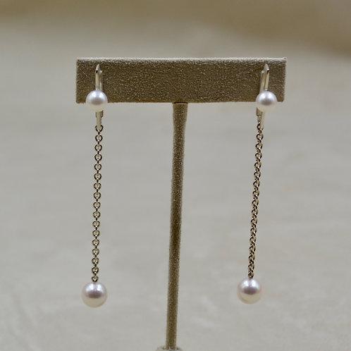 Japanese Akoya Pearls & Sterling Silver Earrings by Reba Engel