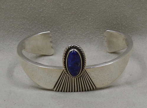 Sterling Silver and Lapis Cuff by Leonard Nez