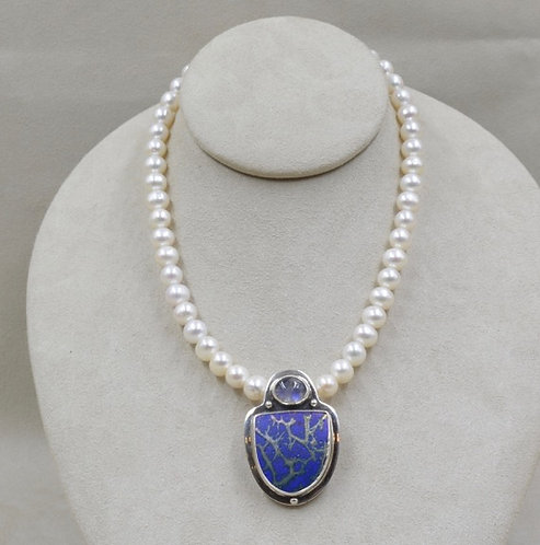 Sterling Silver with Moonstone and Roman Glass Pendant by Richard Lindsay