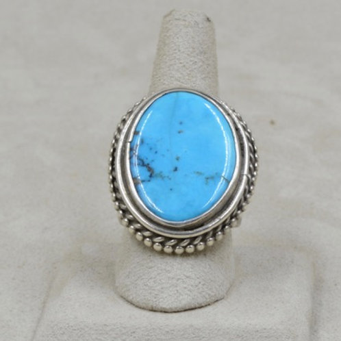 Morenci Stone & Sterling Silver 9X Ring by Jerry Faires
