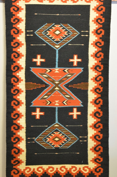 "Fino Bordered Black Zapotec Weaving with No Fringe - 31"" X 60"""