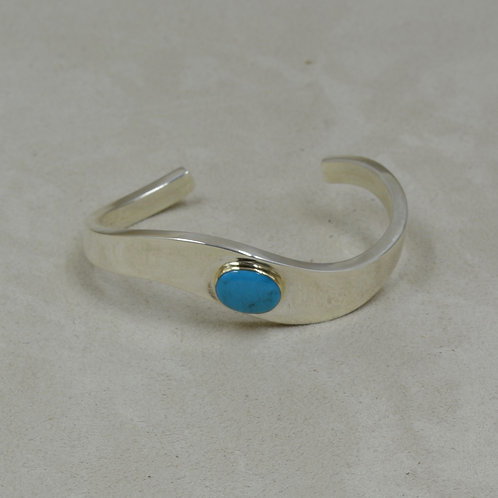 S. Silver Dished Cuff w/ Natural Bisbee Turquoise & 14k Gold Bezel by Tim Busch
