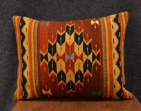 "Set of 2 Red, Navy, &  Turquoise Zapotec Pillows - 15"" X 20"""