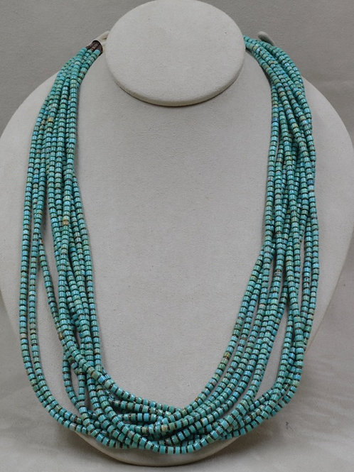 10 Strand Kingman Turquoise w/ Olive Shell Heishi by Kenneth Aguilar