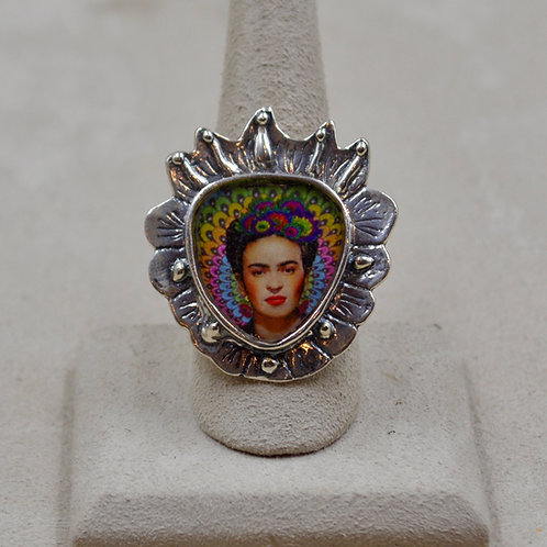 Sterling Silver Adjustable Frida Heart Ring by Shoofly 505
