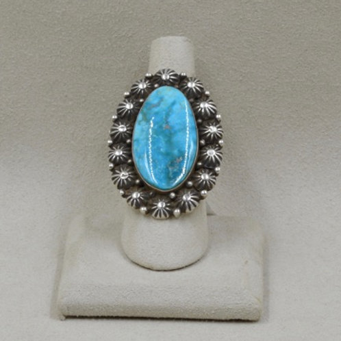 Sterling Silver with Turquoise Oval Ring 8X by Shoofly 505