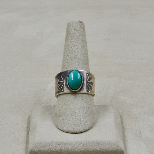 Fox Turquoise Stamped Sterling Silver 10x Ring by Red Rabbit Trading