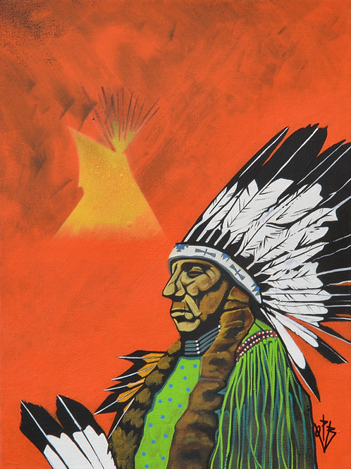 """Quanah in War Bonnet"" Ac on Canvas Framed 16"" x 12"" - by Quanah Parker Burgess"