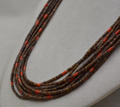 10 Strand Baby Olive Shell Heishi w/ Red Coral Necklace by Peyote Bird