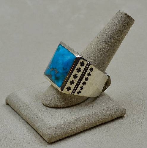 Kingman Turquoise & Sterling Silver 32 Crosses 14x Ring by JL McKinney