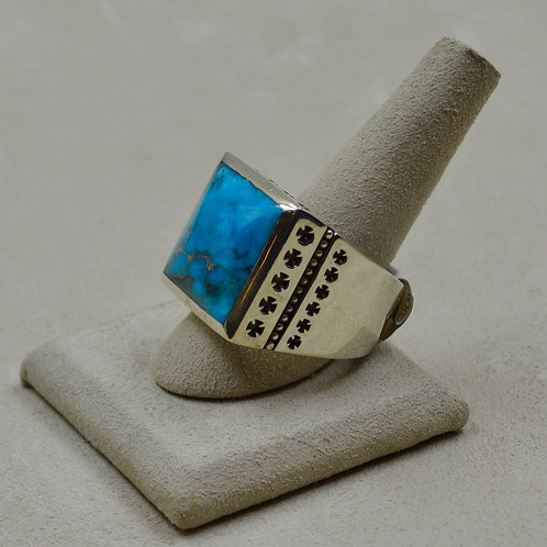 Kingman Turquoise & Sterling Silver 32 Crosses 14x Ring by JL McKinney