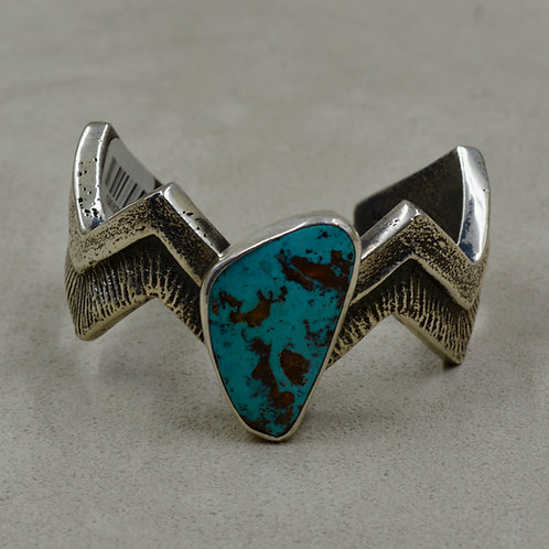 National Pilot Mountain Turquoise & S. Silver Lightning Cuff by Erik Fender
