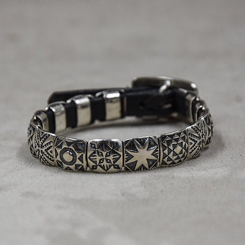14 Mini Square Sterling Silver Conchos Bracelet by Rick Montano