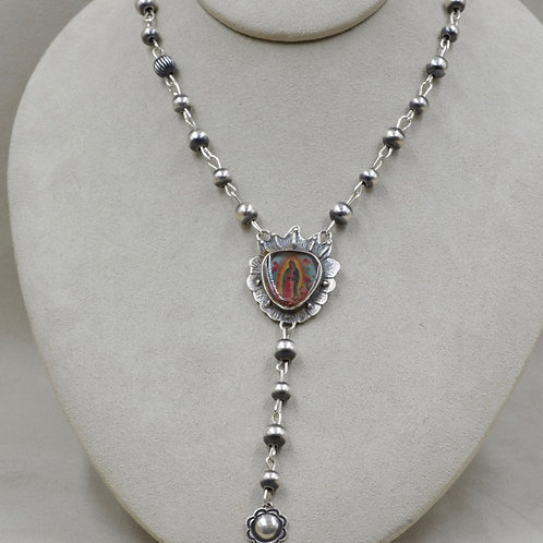 Sterling Silver Rosary Style Guadalupe Necklace by Shoofly 505