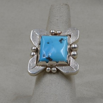 Sterling Silver Natural Kingman Turquoise Square Stone 7X Ring by JP Arviso