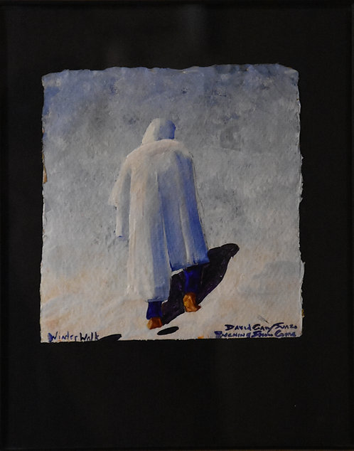 """Winter Walk"" Framed Acrylic on Handmade Paper by David Gary Suazo"