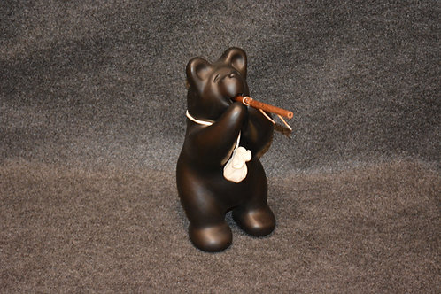 Med Black Bear Flute Player Sculpture by Randy Chitto