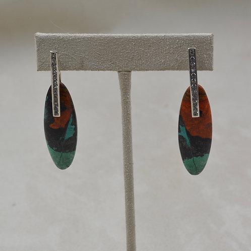 Sonora Sunrise Oval S. Silver Earrings w/ White Sapphire by Reba Engel