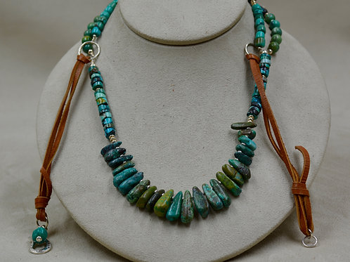 3 Strand Turquoise Leather & S. Silver Necklace by Sippecan Designs
