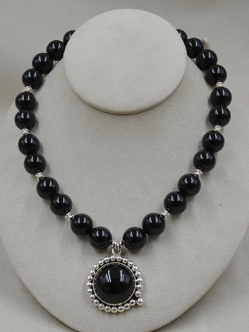 Onyx & Sterling Silver Beaded Necklace by Jacqueline Gala