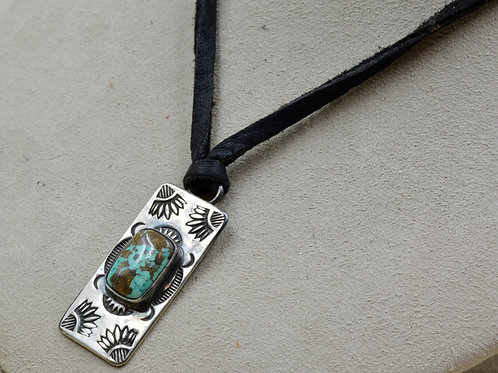S. Silver Stamped Dogtag Necklace w/ Chinese Turquoise by Red Rabbit Trading Co.