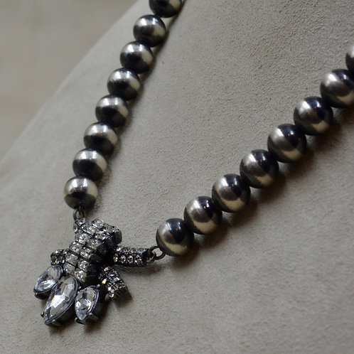Oxidized Sterling Silver 10mm Necklace w/ Rhinestone Centerpiece by Shoofly 505