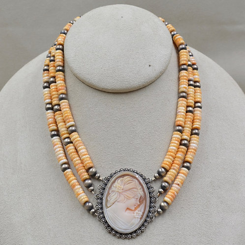 3 Strand Orange Spiny Oyster w/ Antique Italian Cameo Necklace by Maggie Moser