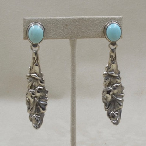 Turquoise 4 O'Clock Sterling Silver Post Earrings by Jerry Faires