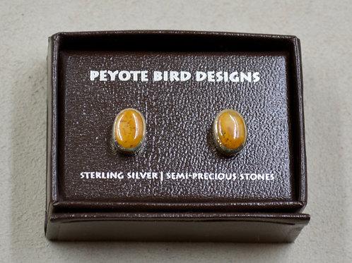 Medium Oval Jasper Post Earrings by Peyote Bird Designs