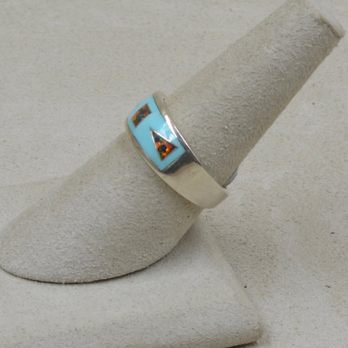 Campitos Turquoise, Lab Opal, & Sterling Silver 7x Ring by GL Miller Studio