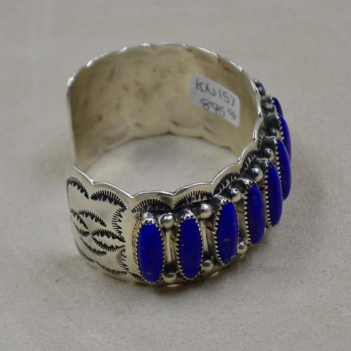13 Stoned Lapis & Sterling Silver Cuff