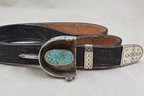 Spur Ranger Set, Stamped SS w/ Old Natural Kingman Turquoise by Eugene Crawford