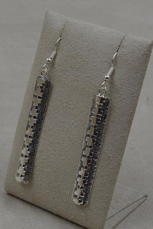 Sterling Silver Tufa Long 4 Direction Pattern Wire Earrings by Bryan Joe