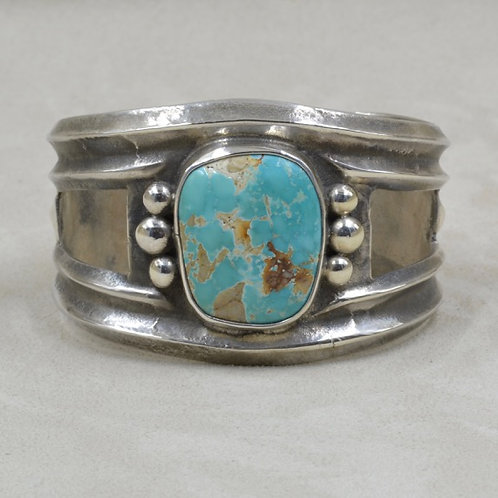 Gem Cut Natural Royston Turquoise & Sterling Silver Tufa Cuff by Jerry Faires