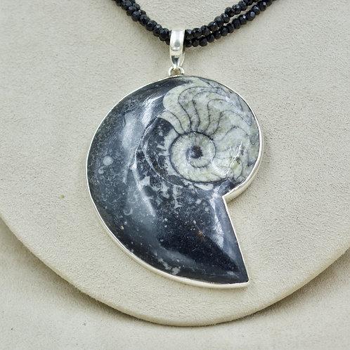 Black Ammonite & Sterling Silver Pendant by Sanchi & Filia